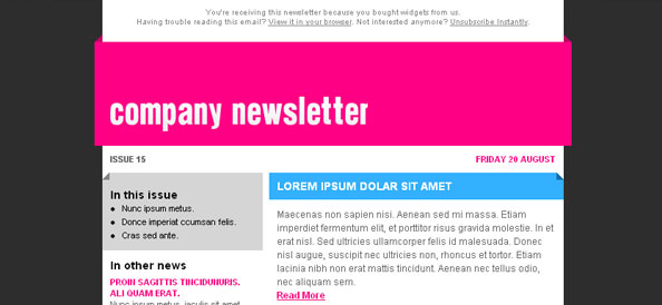 Colorful Free Newsletter Left Sidebar