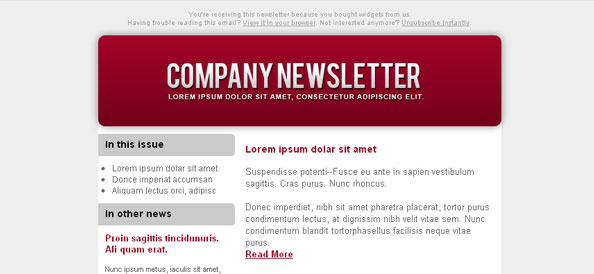 Colorful Email Newsletter Left Sidebar - Free Mail Templates