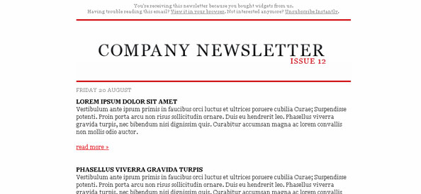 Simple Free HTML Email Newsletter