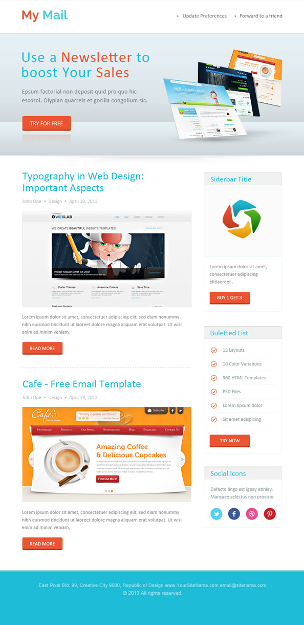 Abstract html newsletter template free mail templates spiritdancerdesigns Images