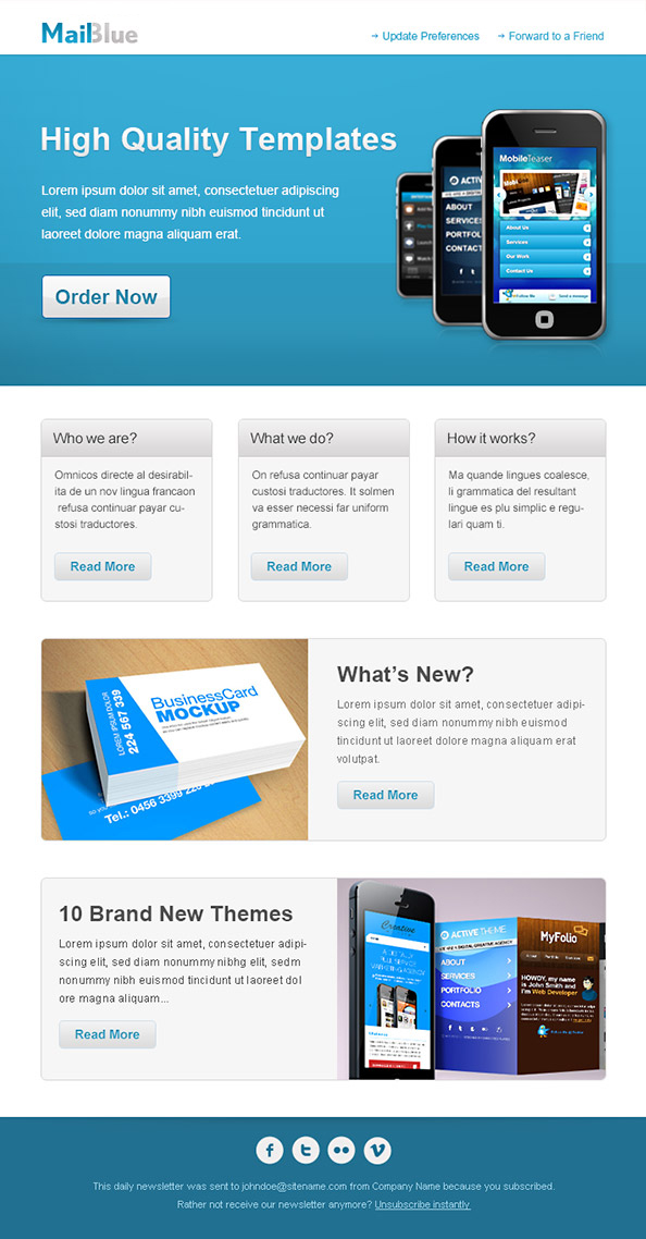 Business Email Template in Blue Colors - Free Mail Templates