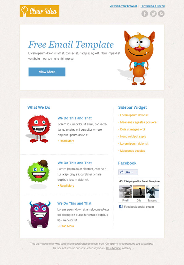 Cartoon Newsletter Template