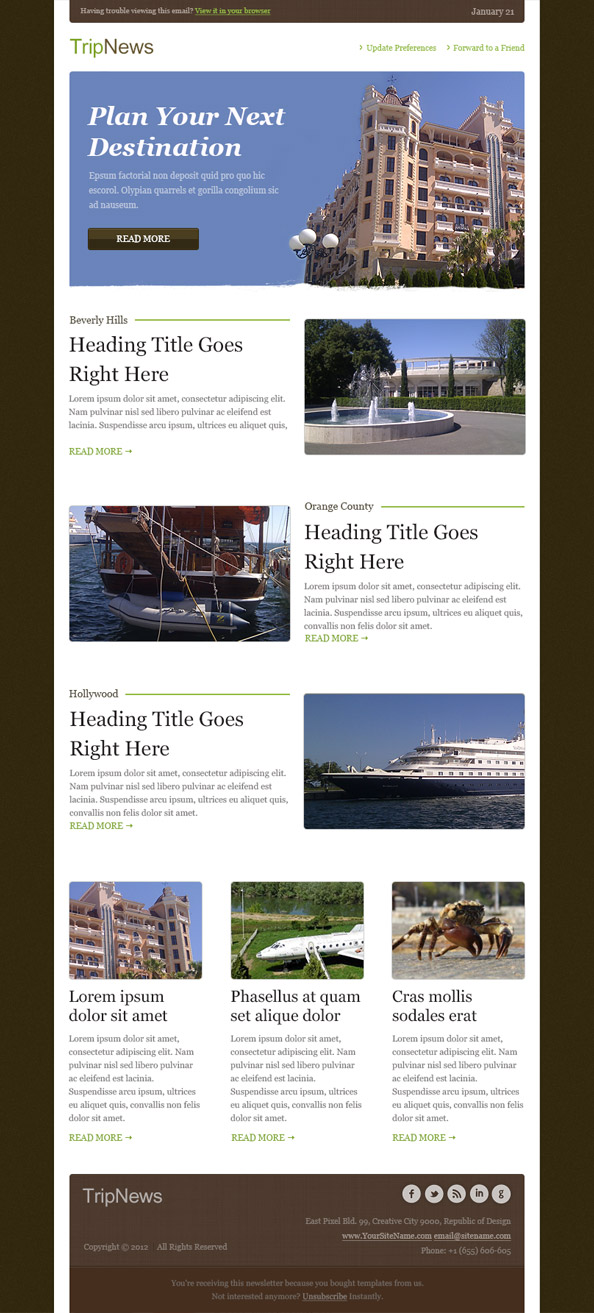 Free Email Template - Trip News