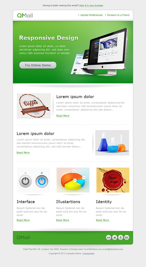 free email template in green color free mail templates
