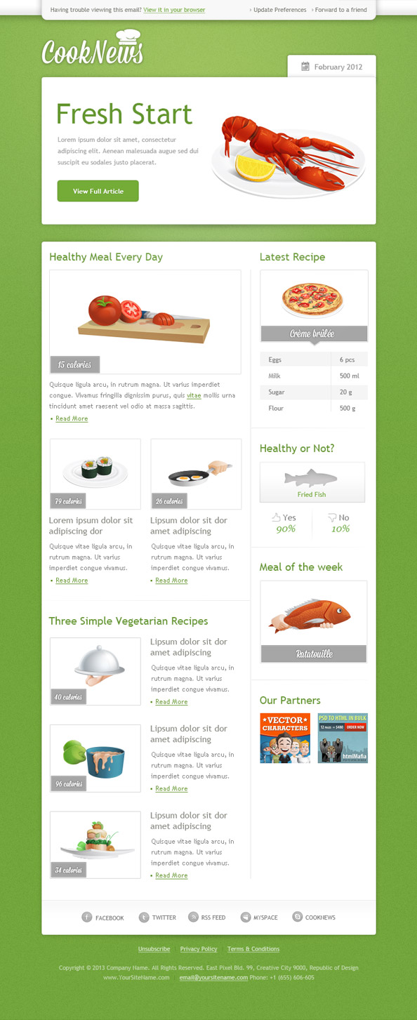 Green email template free mail templates for Designing an email template