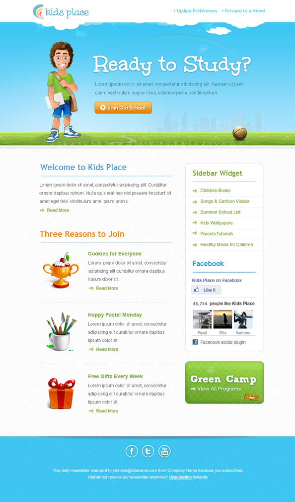 kids newsletter template free mail templates - Free Templates For Kids