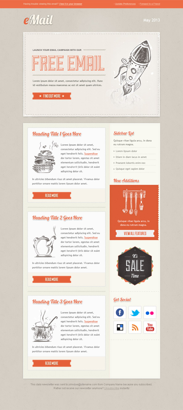 Vintage email template free mail templates for Mail designer pro templates